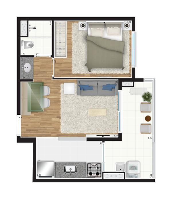 40 m² - 1 dorm