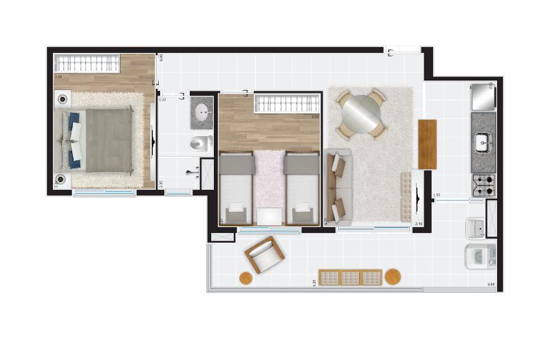 57 m² - 2 dorms