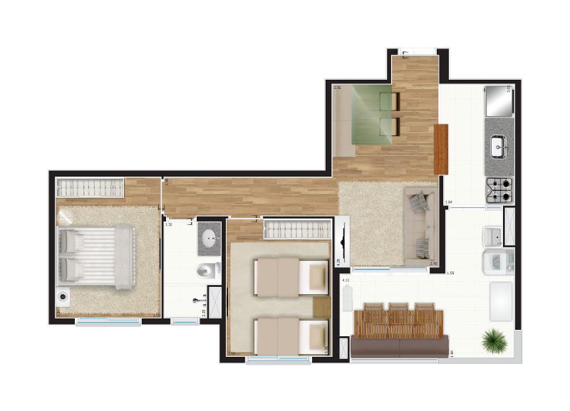 59 m² - 2 dorms