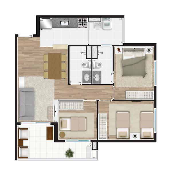 71 m² - 3 dorms