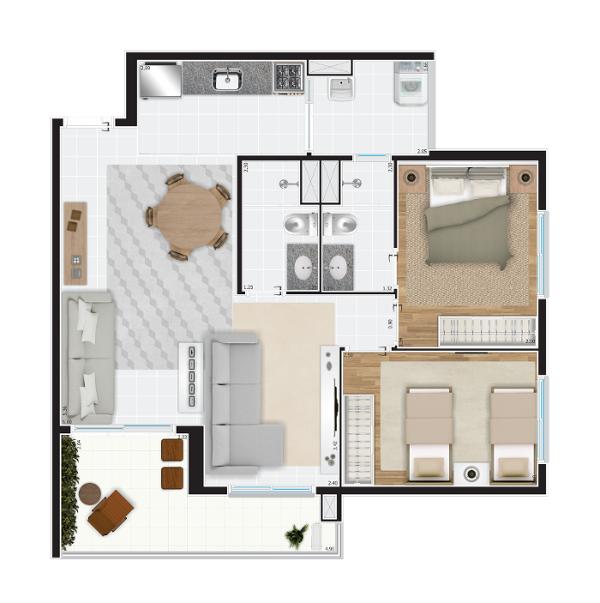 71 m² - decorado