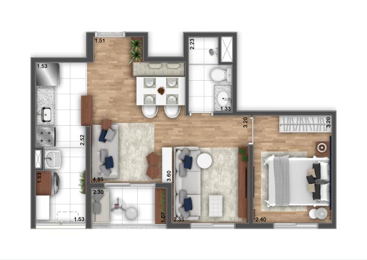 2 Dormitórios - Opção ampliada