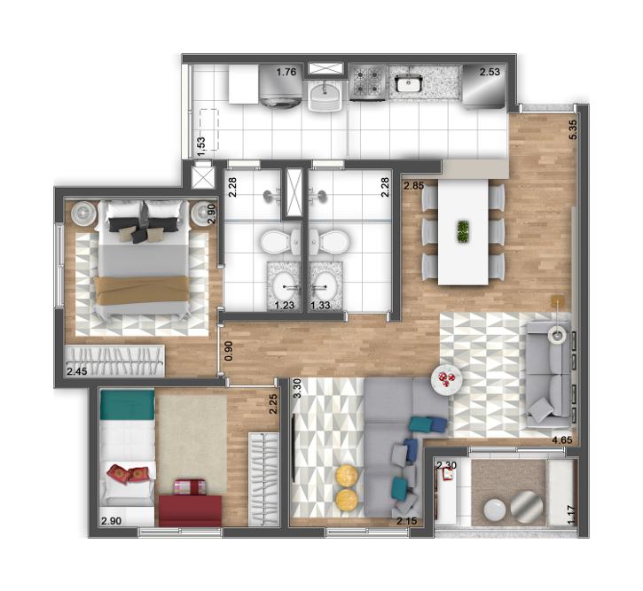 3 Dormitórios - Opção ampliada