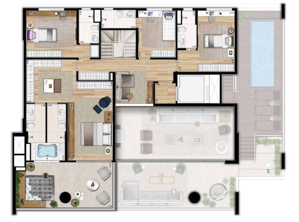 433m² - 4 Dormitórios Duplex Superior