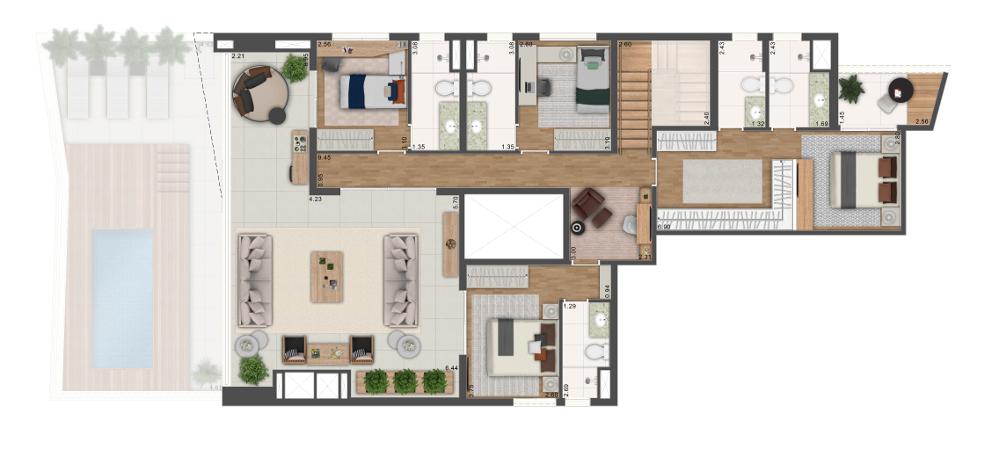Duplex Superior - 370m² / 4 suítes
