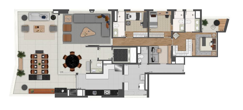 218m² - 3 suítes e sala ampliada