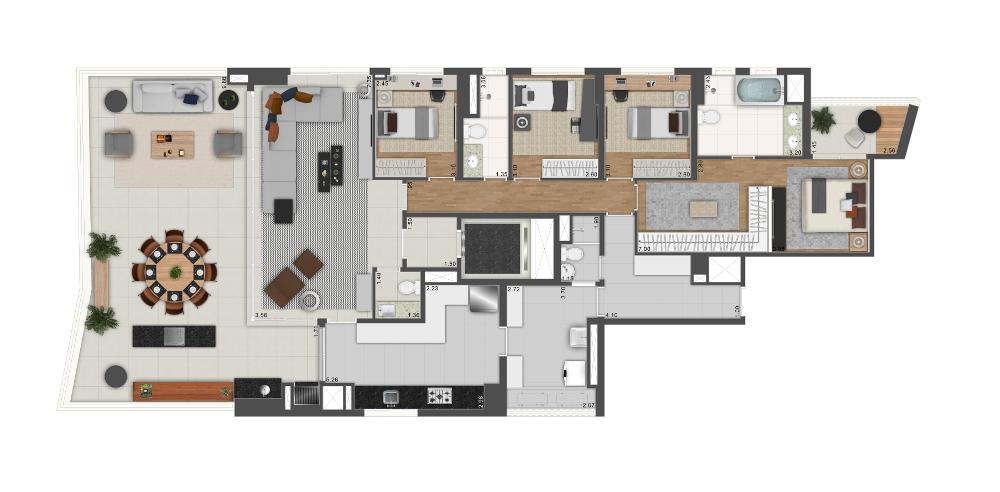 218m² - 3 dorms. / 1 suíte com banho e closet ampliados