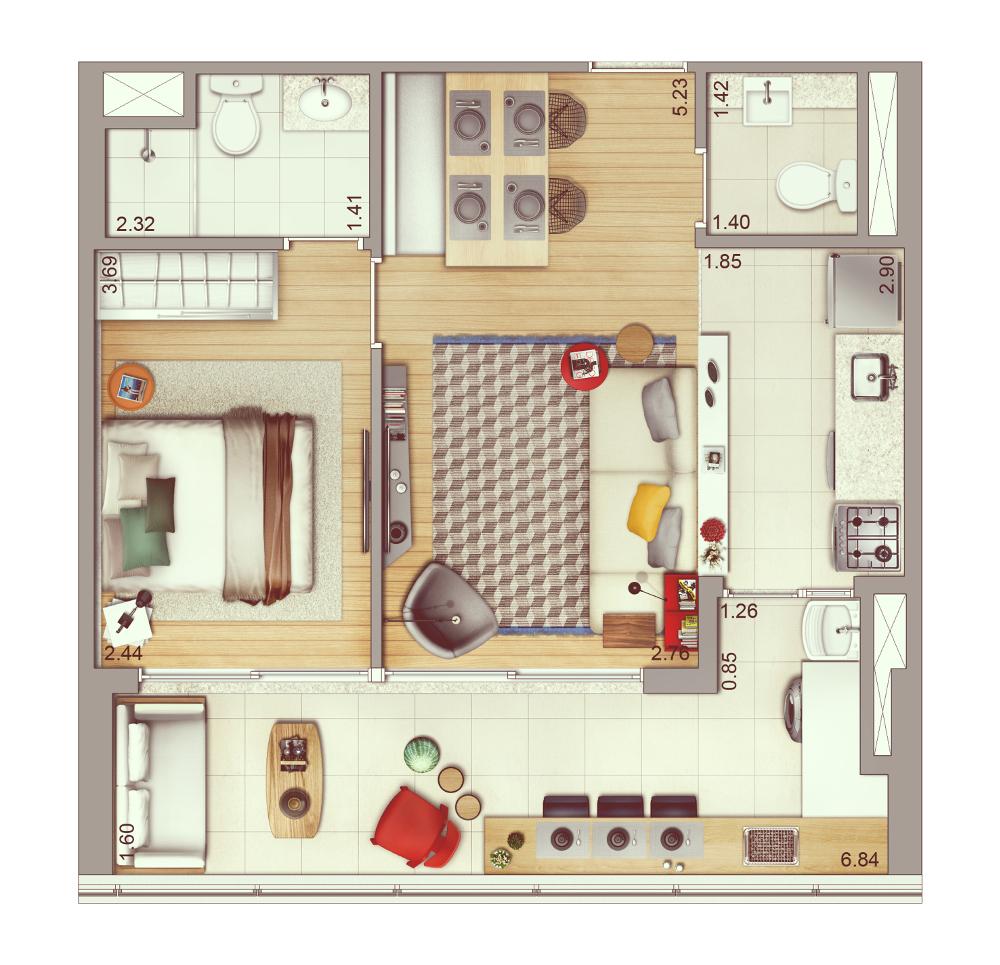 1 dormitório - 53 m² | Planta ampliada