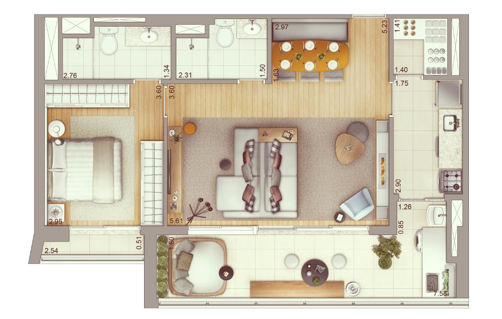2 dormitórios - 75 m² | Planta ampliada