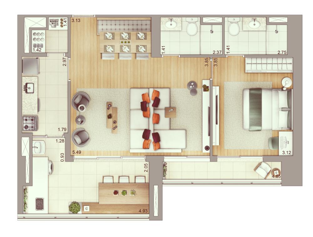 2 dormitórios - 78 m² | Planta ampliada