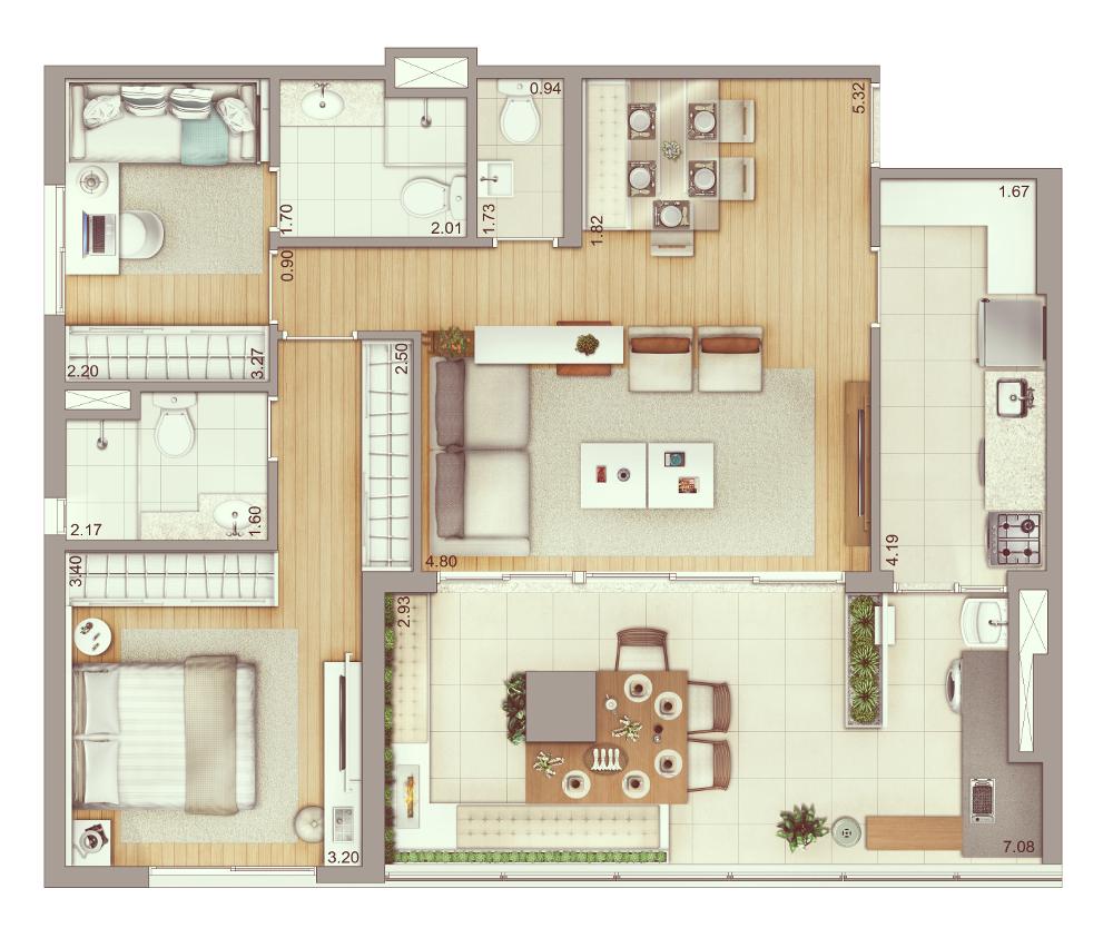 3 dormitórios - 93 m² | Planta ampliada