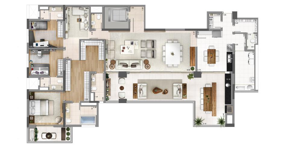 3 Suítes e Sala ampliada - 250m²