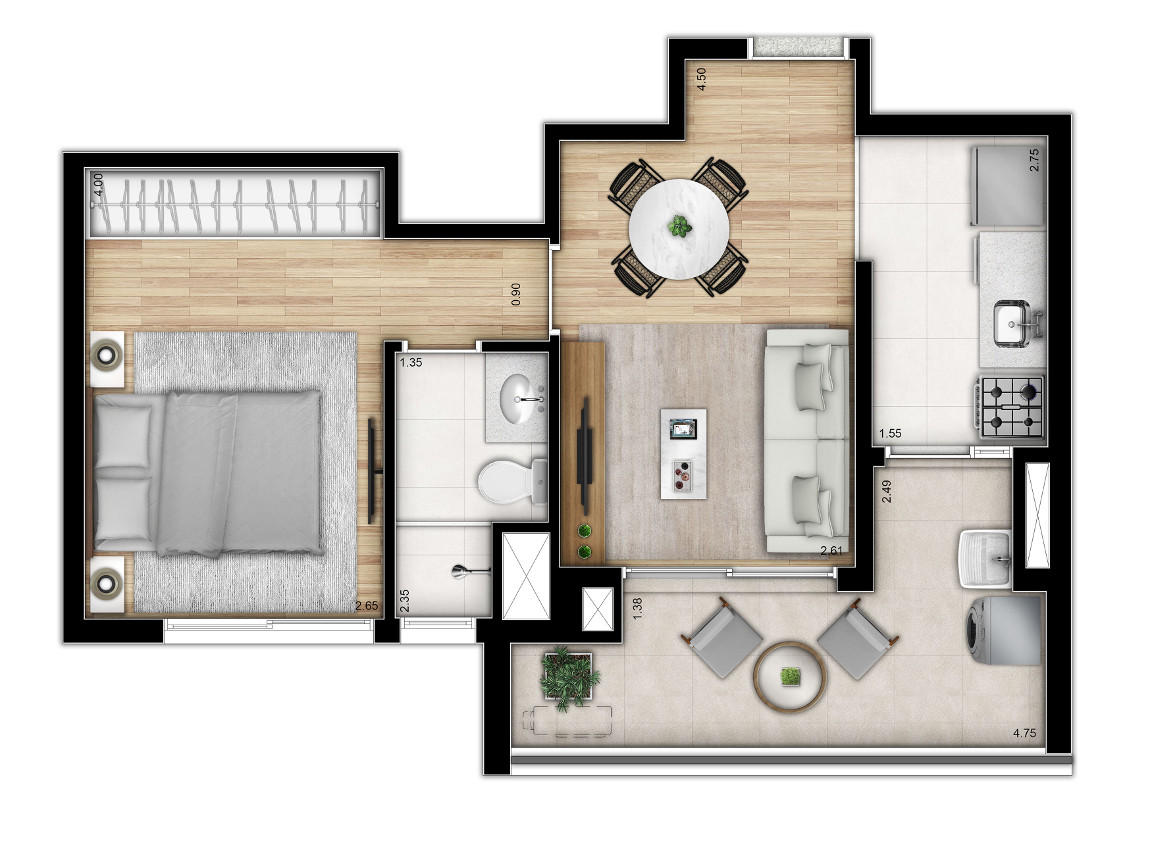 Tipo 1 dormitório - Torre 1