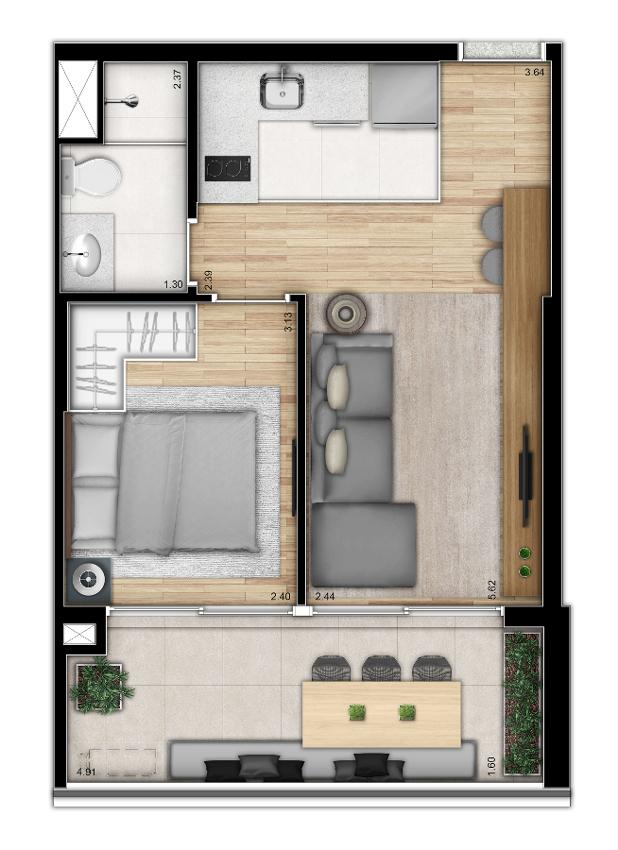 Tipo 1 dormitório - Torre 2
