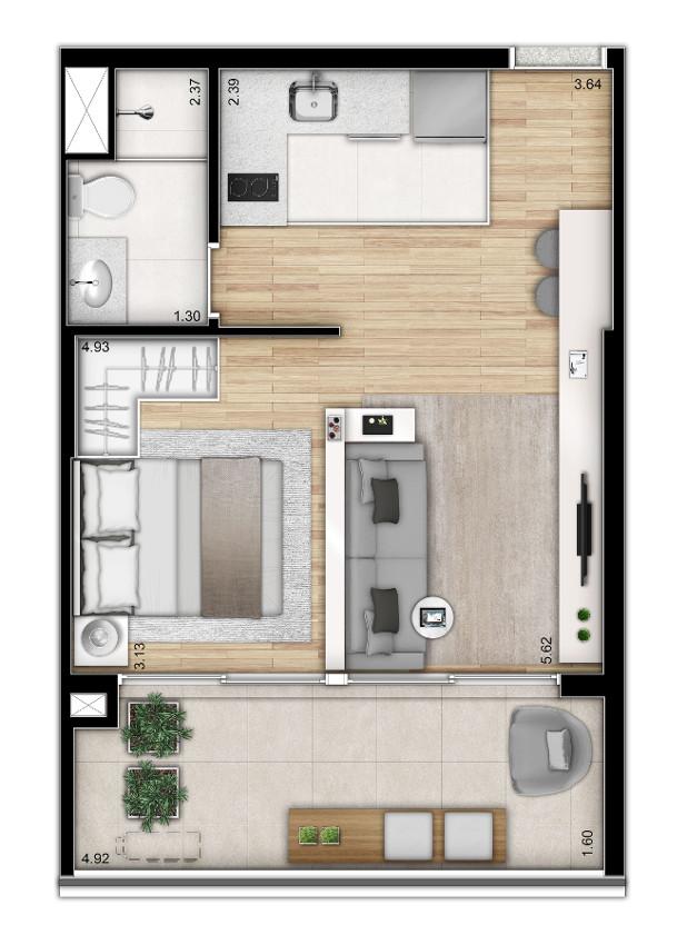 Opção - 1 dormitório - planta ampliada - Torre 2