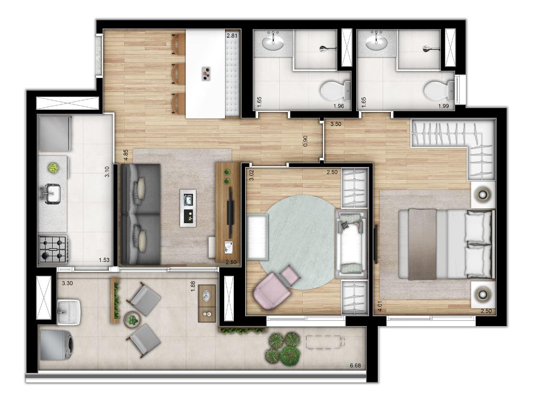 Tipo 2 dormitórios - ponta - Torre 1