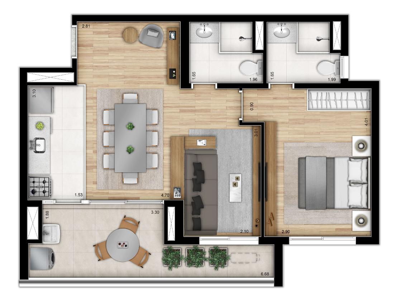 Opção 2 - 2 dormitórios - ponta - Torre 1