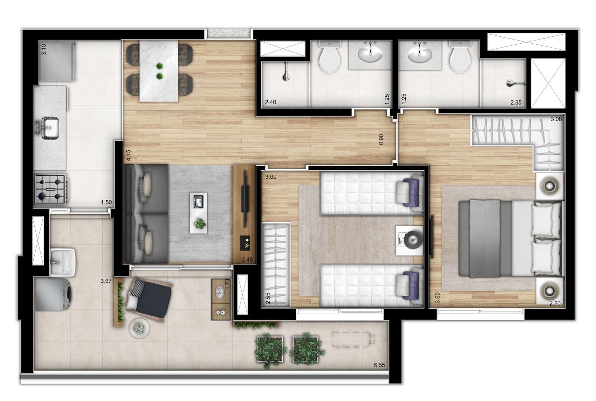 Tipo 2 dormitórios - Meio - Torre 1