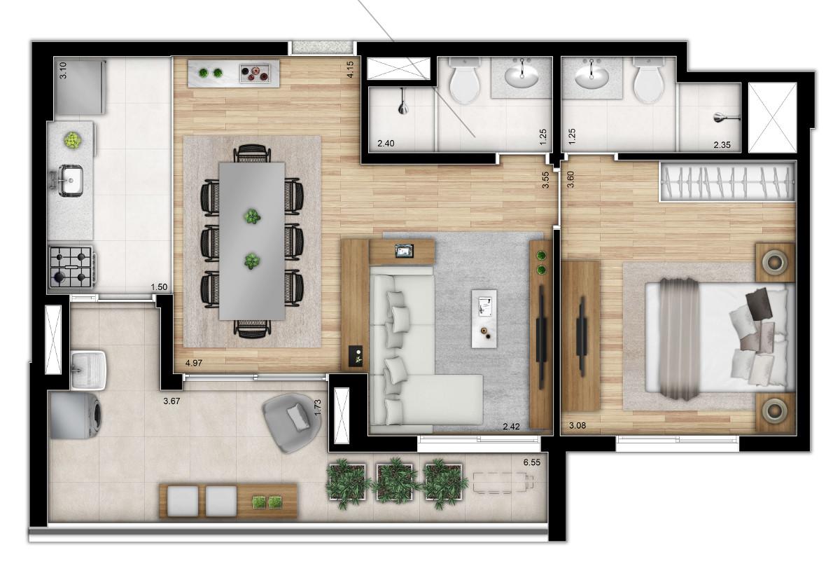 Opção 2 - 2 dormitórios (ampliada) Meio - Torre 1