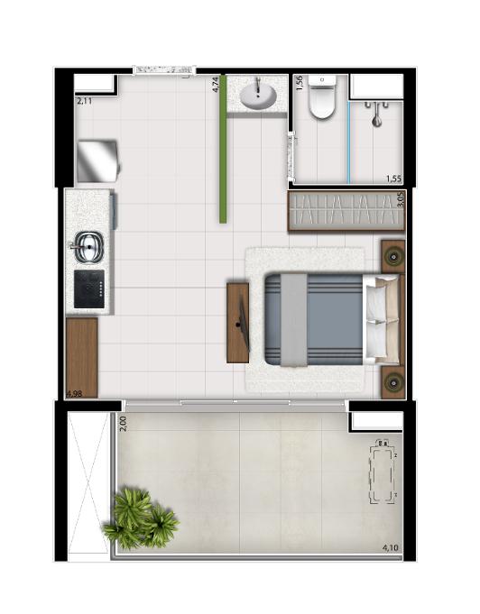 Studio - 35 m²
