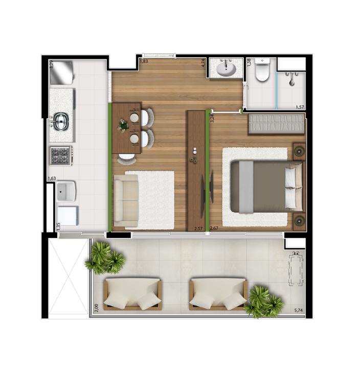 49 m² - 1 dorm