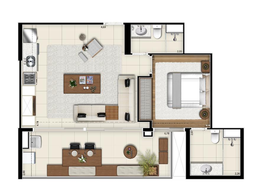 64 m² - Opção living ampliado