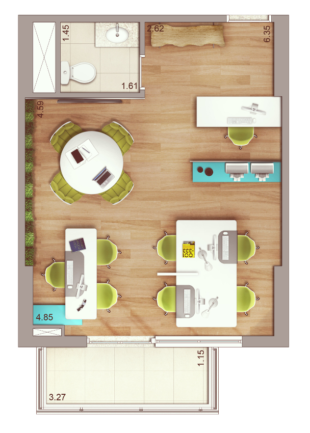 Planta 44 m²    possibilidade de junção de salas   previsão para piso elevado e ar condicionado