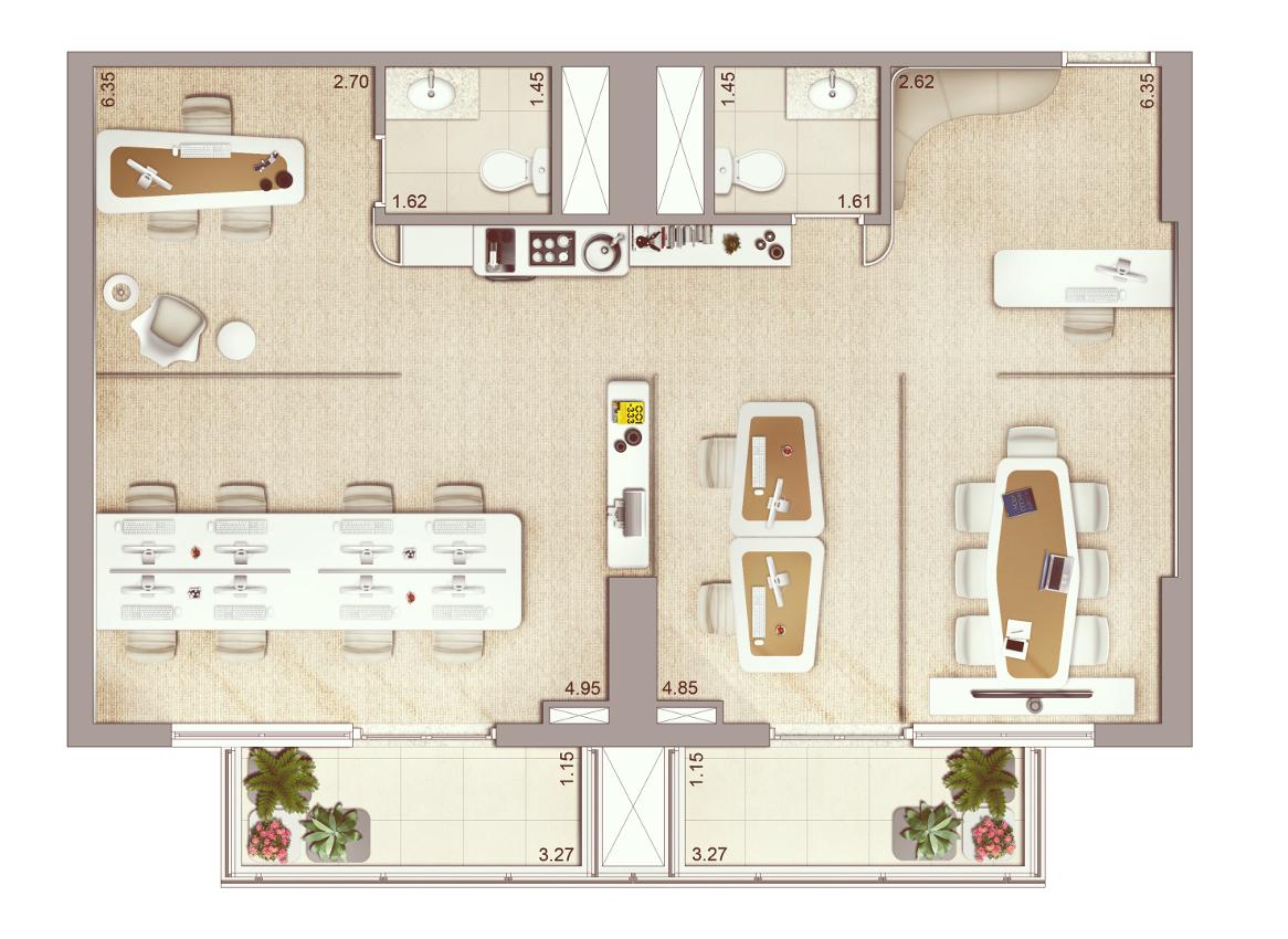 Sugestão Junção de salas 79m²   previsão para piso elevado e ar condicionado