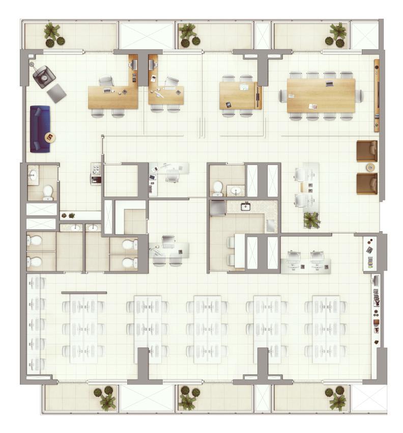 Sugestão junção de salas 261 m²   previsão para piso elevado e ar condicionado