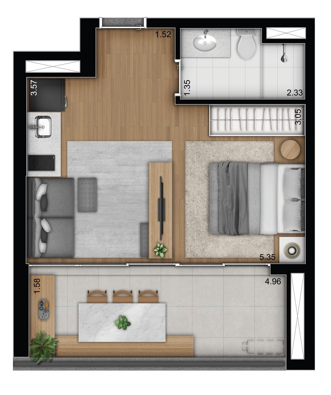 1 dormitório - tipo - bancada dentro banho