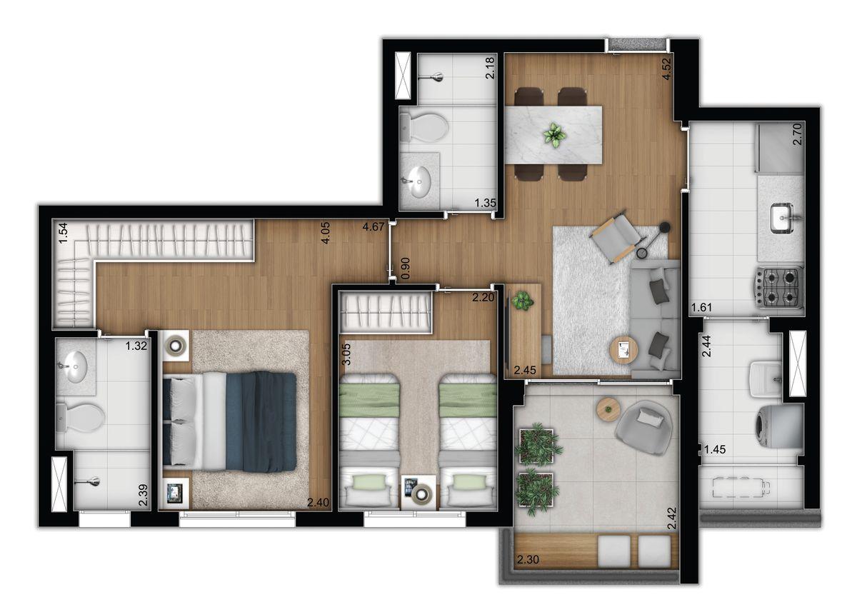Tipo 2 dormitórios