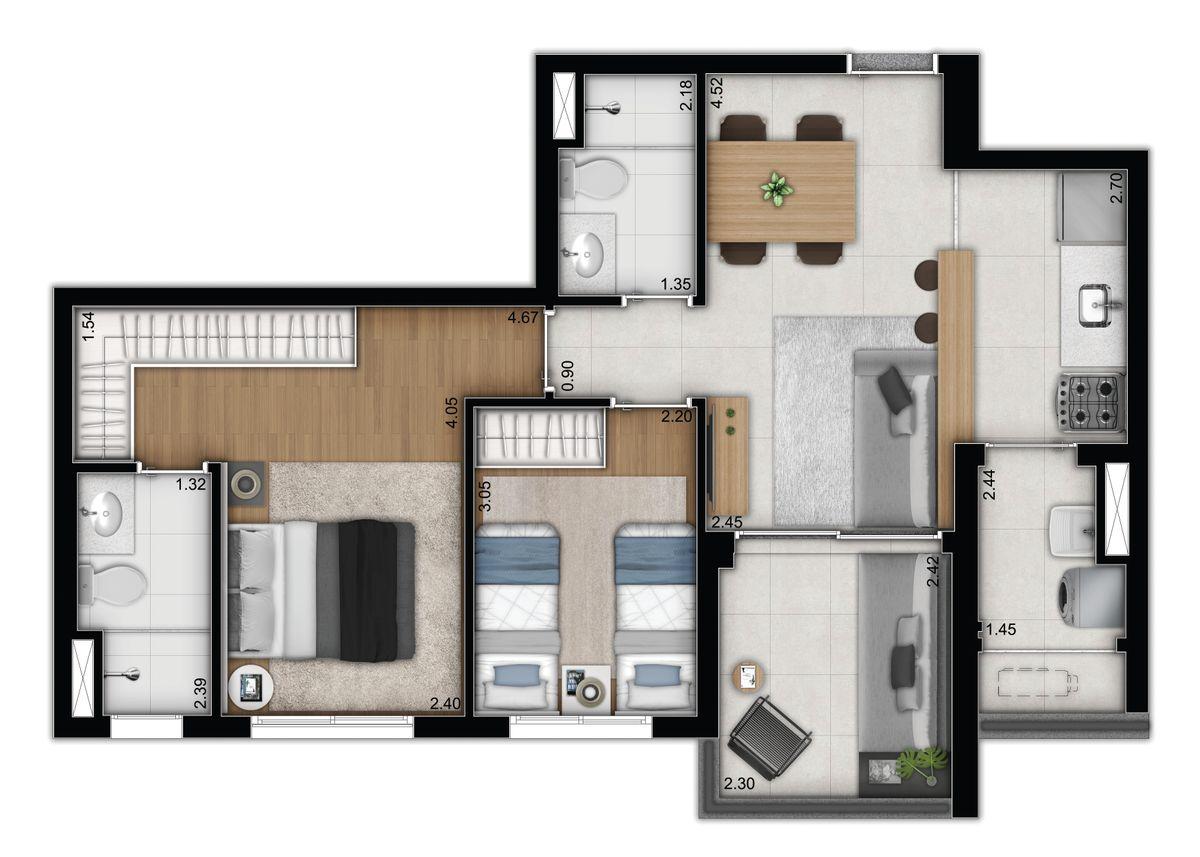 2 dormitórios - opção 3