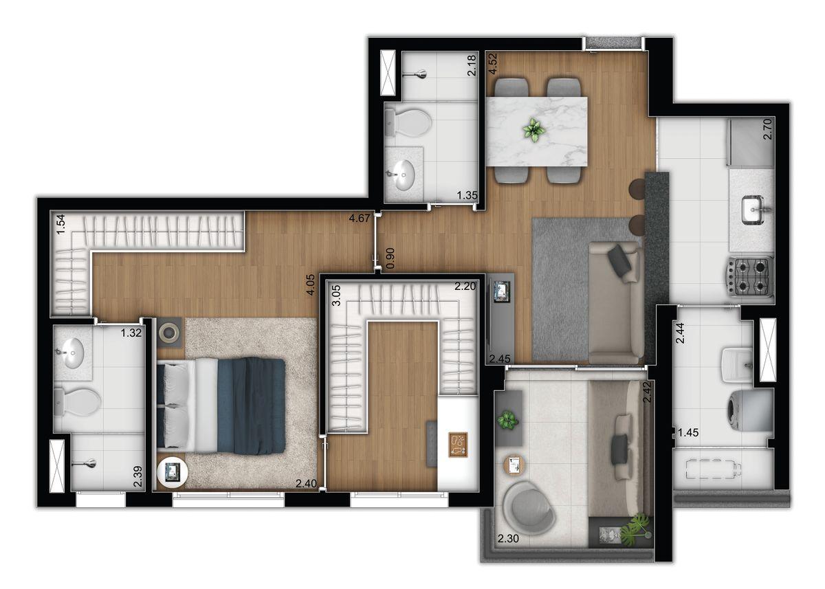 2 dormitórios - opção 4