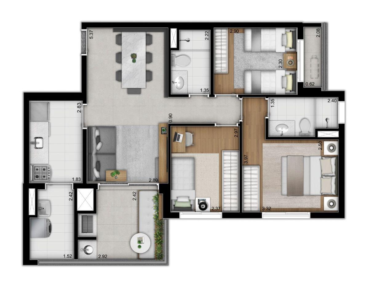 Tipo 3 dormitórios