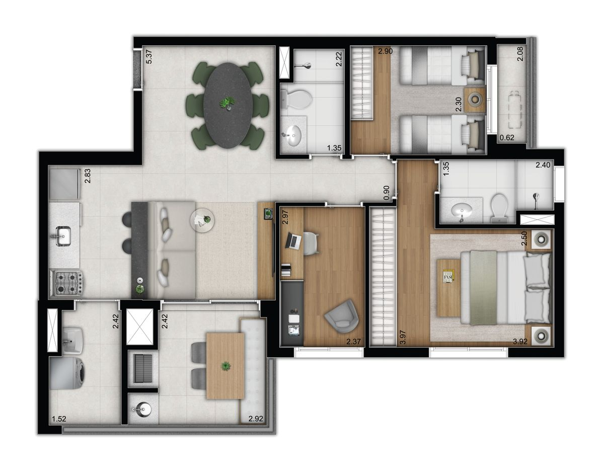 3 dormitórios - opção