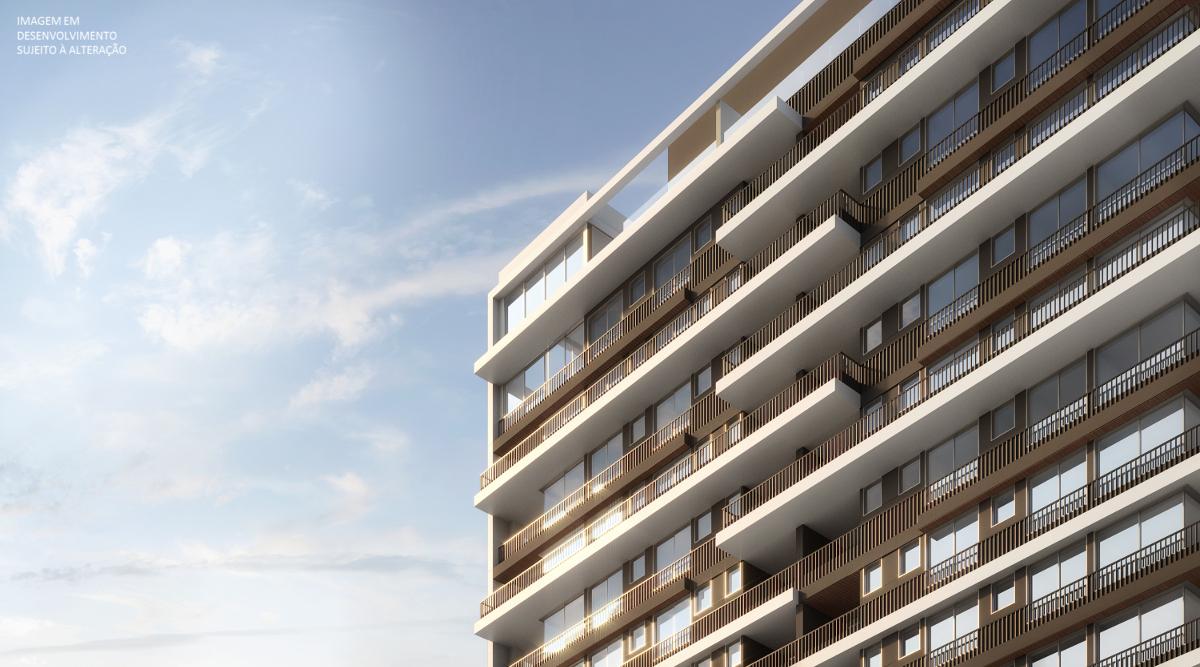 Detalhe da fachada - Imagem preliminar, sujeita a alteração.