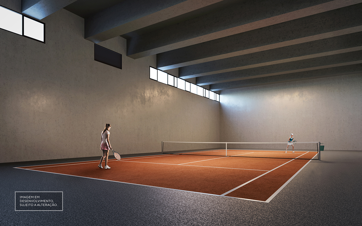 Quadra de tênis coberta - Imagem preliminar, sujeita a alteração