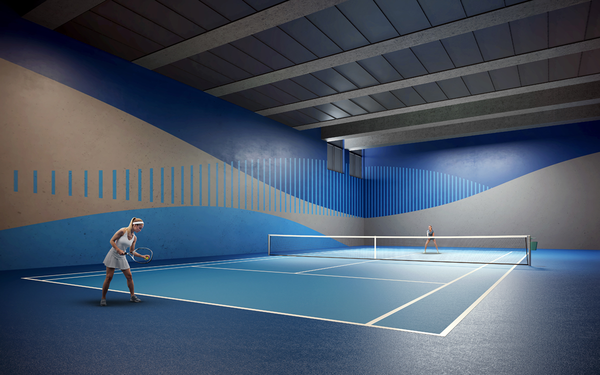 Quadra de tênis coberta