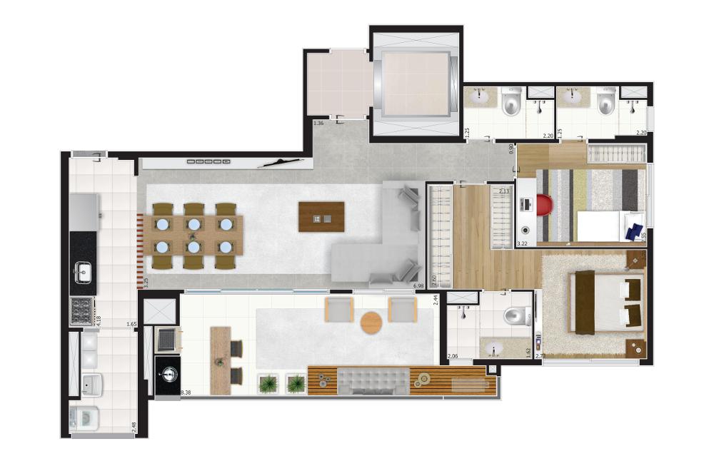 100 m² - Opção living ampliado