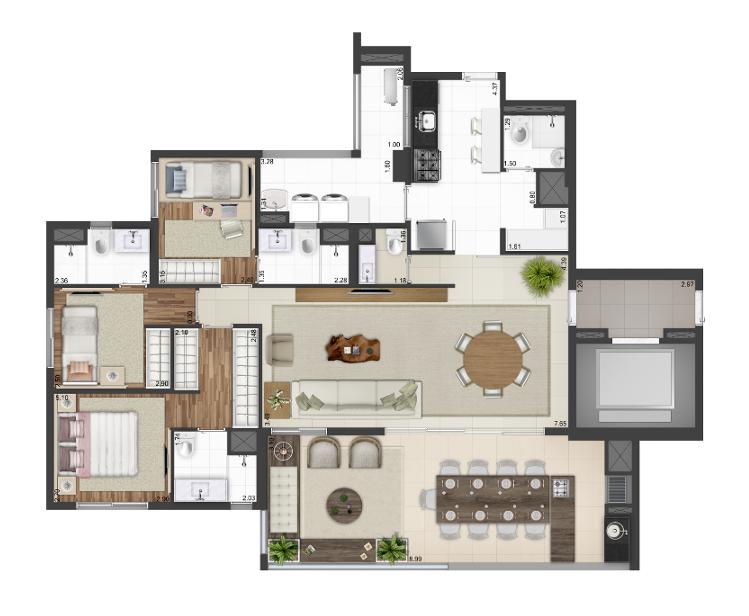 141 m² - Opção living ampliado