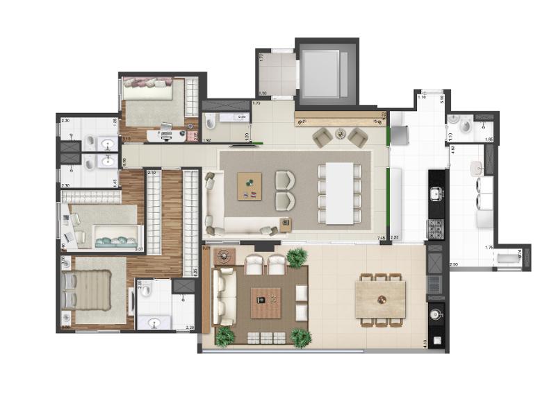 173 m² - Opção living ampliado