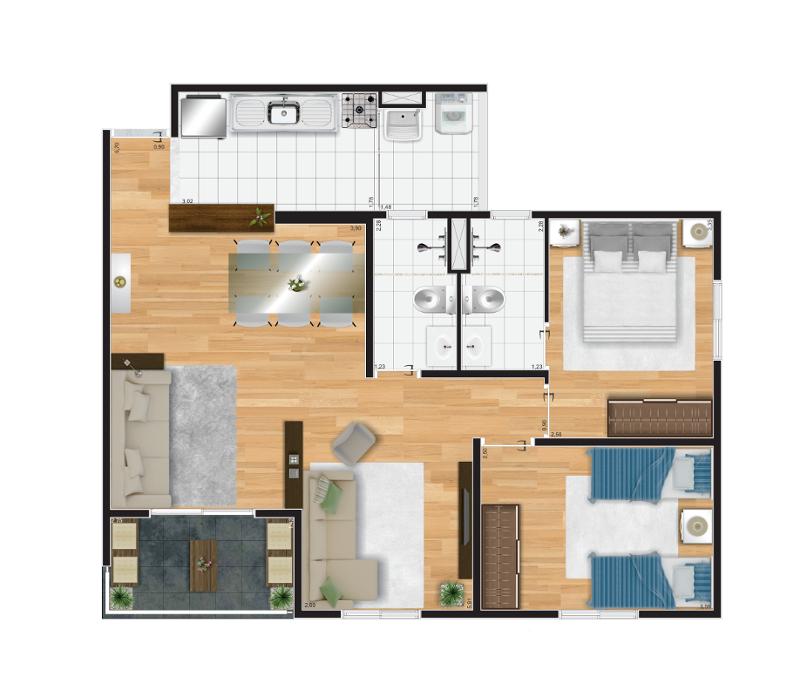 69 m² - Opção living ampliado