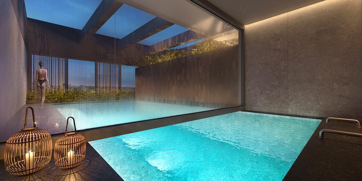 Sauna úmida com piscina descoberta integrada