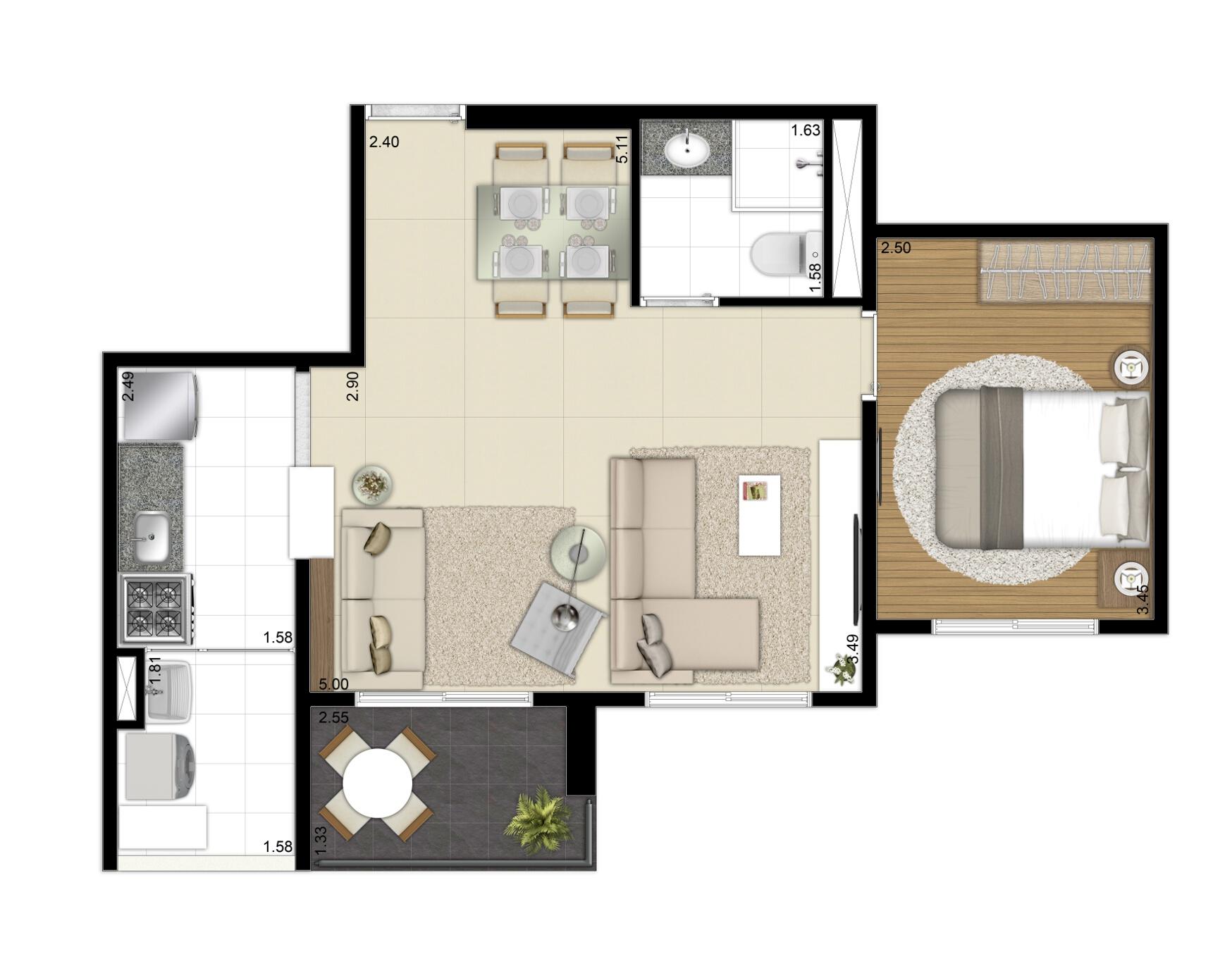 49 m² - Opção living ampliado