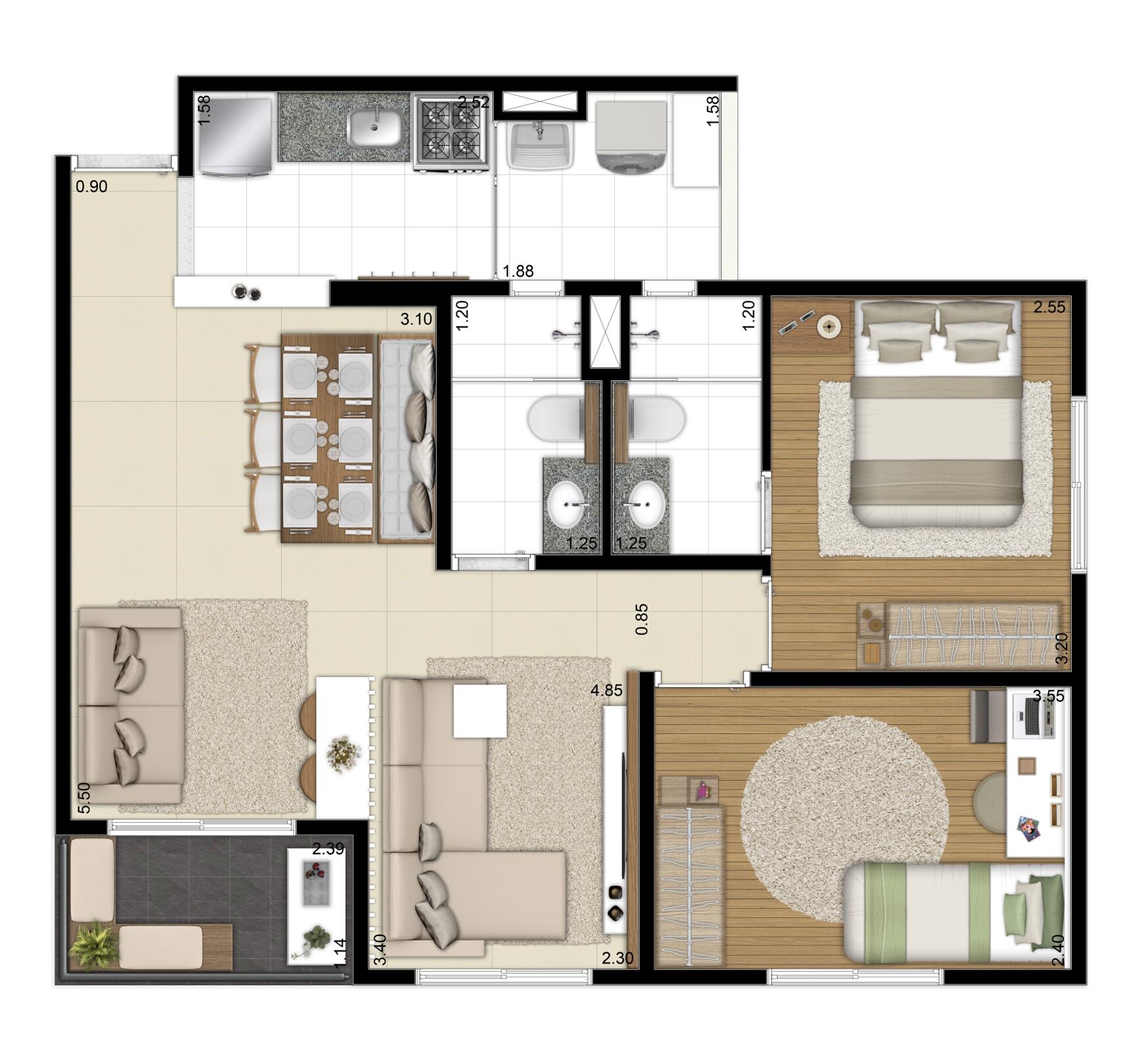 62 m² - Opção living ampliado