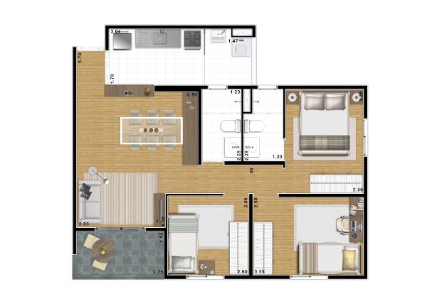 3 dormitórios