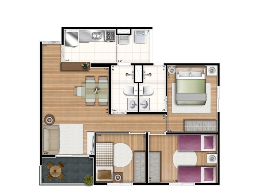 59 m² - 3 dorms