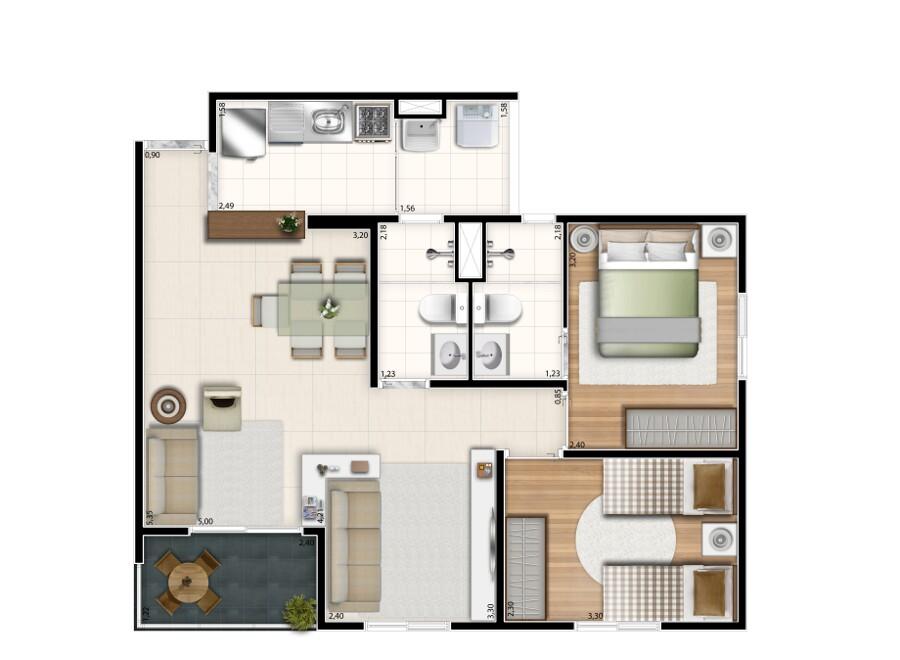 59 m² - opção living ampliado