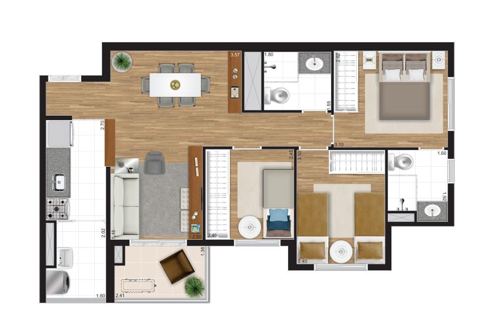 3 dormitórios - Opção A