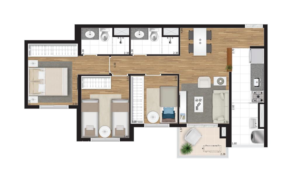 3 dormitórios - Opção B